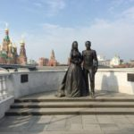 Newlyweds Grace Kelly and Rainier III monument in Russia