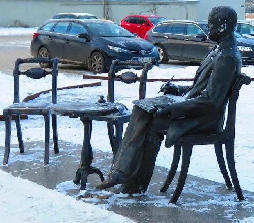 Gustav Faberge monument in Pärnu, Estonia