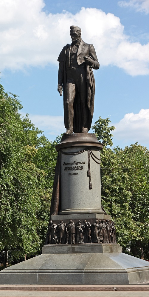 Moscow monument to Alexander Griboyedov and his characters
