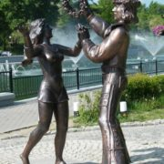 Princess and troubadour, characters of Bremen town musicians. Khabarovsk monument