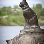The city of Plyos, Ivanovo region, Russia. Cat's monument