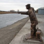Trofimych - bronze sculpture of a fisherman in Kamensk-Shakhtinsky of Rostov region