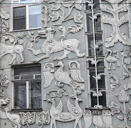 Art Nouveau house bas-reliefs of fantastic animals. Moscow. Photo Janet1981