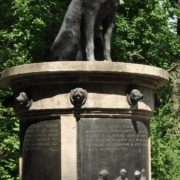 Closeup - Pavlov's dogs monument. St. Petersburg