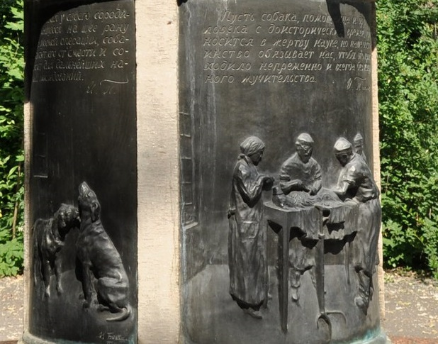 Fragment of Pavlov's dogs monument in St. Petersburg depicting the work of doctors