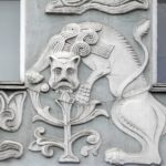 Art Nouveau house bas-reliefs of fantastic animals