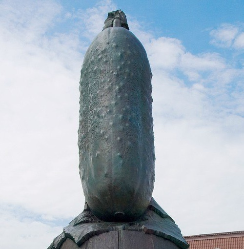 Monument to Cucumber in Lukhovitsy, Moscow suburb