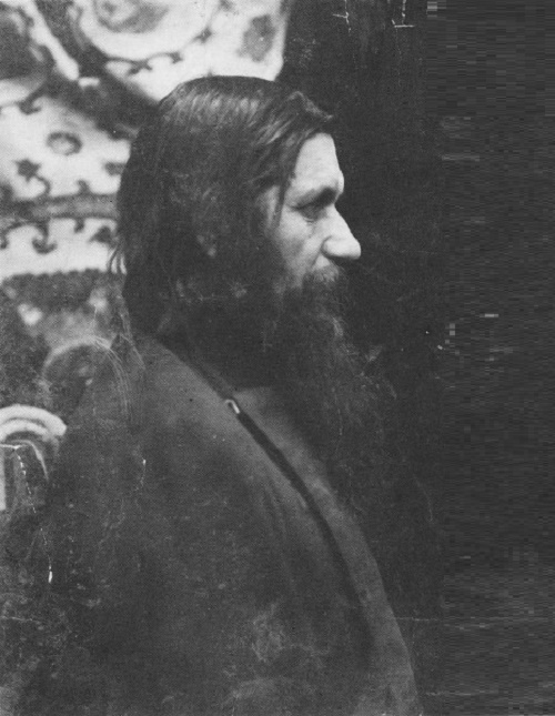 Photo of Grigory Rasputin posing for sculptor Aronson. 1915