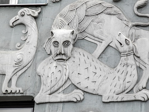 Terracotta bas-relief. Art Nouveau house bas-reliefs of fantastic animals. Moscow. Photo Janet1981