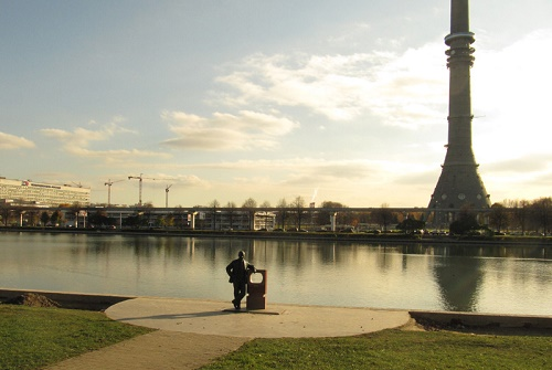 The view of monument near Ostankino pond and TV tower