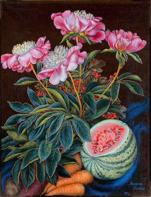 Watermelon, carrots, flowers. Oil 1951