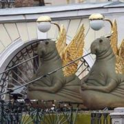 And temporarily replaced griffins on Bank Bridge in Saint Petersburg ...