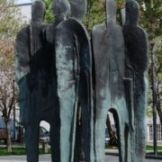 Details of Joseph Brodsky monument, sculptural composition next to it