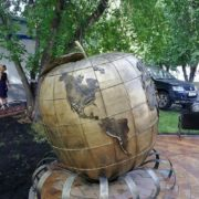 Globe apple monument in Novosibirsk