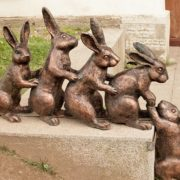 Hares helping each other. Peter and Paul Fortress, St. Petersburg