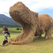 Huge hippopotamus. Wara straw art festival in Japan