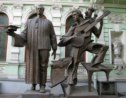 Moscow monument to two poets Brodsky and Vysotsky
