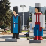 15 pixel figures represent 15 Soviet republics of the former USSR