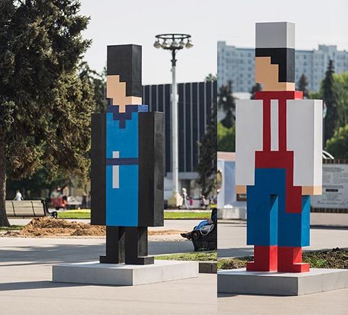 15 pixel figures represent 15 Soviet republics of the former USSR