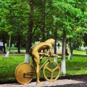 Called by locals 'Putin on a bicycle'. Monument in Ufa, Russia