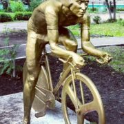 Front view - Putin on a bicycle. Ufa, Russia