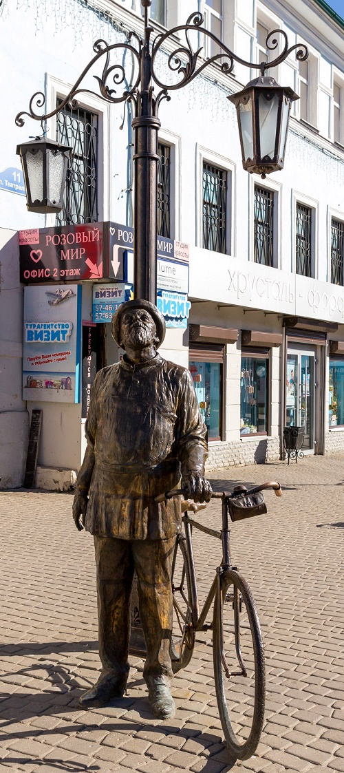Kaluga, Russia. Monument to Tsiolkovsky (a man with a bicycle)