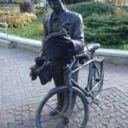 Minsk, Belarus. Monument to the postman