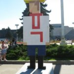 Friendship of Peoples pixel figure installation