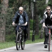 President Vladimir Putin and Prime Minister Dmitry Medvedev - bicycling