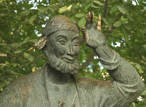 Uzbek folklore character Khoja Nasriddin monument