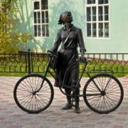 Yelabuga, postwoman with a bicycle