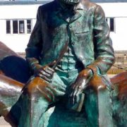 closeup. Vigo, Spain. Monument to Jules Verne