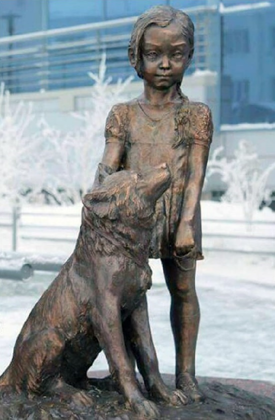 Miraculous Story behind Girl With Dog Monument. Opened December 28, 2015. Yakutsk, Russia. Work by Sculptor Nikolai Nikitich Chochchasov
