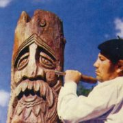 Sculptor S.T. Fedorov at work on a sculpture of Slavic God Perun