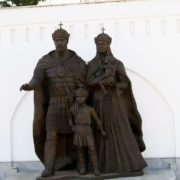Dmitry Donskoy and his beloved wife Yefrosinya of Moscow near her temple in Kotlovka, on Nakhimovsky