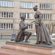 Monument to love and fidelity (wives of the Decembrists) in Chita