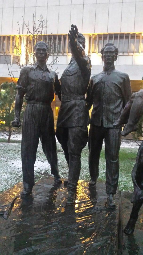 Representing human races three men