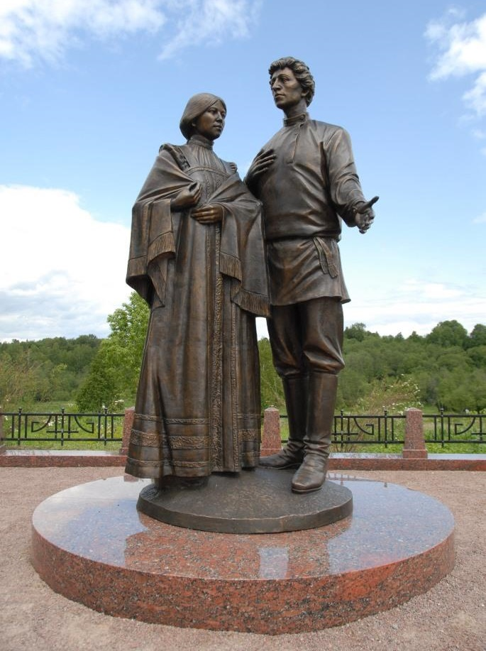 Russian poet Alexander Blok and his wife Lyubov Mendeleeva monument