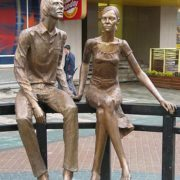 Yekaterinburg, barefoot couple in love. Author of the sculptural composition Sofia Prokhorenko