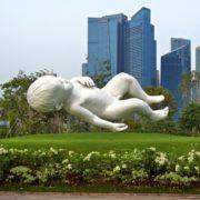 10 meter, 7 ton baby unique sculpture. Amazing installation by British sculptor Mark Quinn
