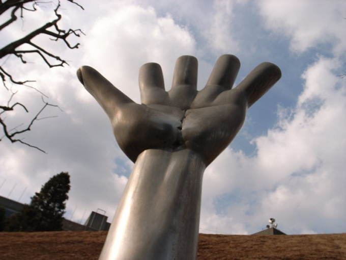 A giant sculpture of the hand by Edgar Wright