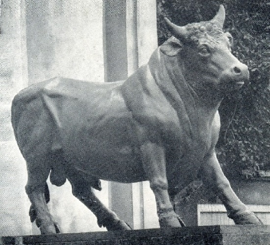 Bronze Bull near the building of a meat-packing plant named after SM. Kirov. 1827
