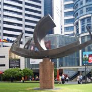 One of many contemporary sculptures of geometrical shapes next to a medical center