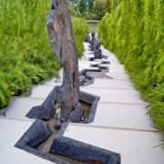 Paths in the gardens decorated with stone sculpture