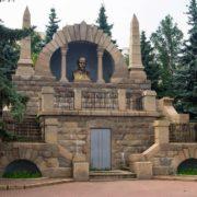 Surrounded with pine trees Vladimir Lenin monument-mausoleum in Chelyabinsk