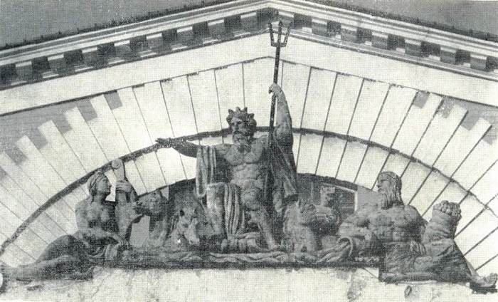 Triumph of Neptune. Sculptural group on the attic of the main facade of the Exchange. 1814