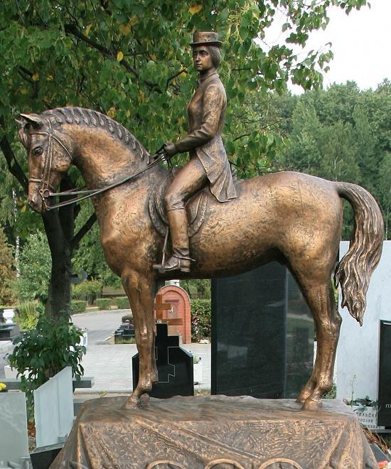 Troekorovskoye cemetery, Moscow. Grave Monument to Horse Pepel and equestrian Elena Petushkova
