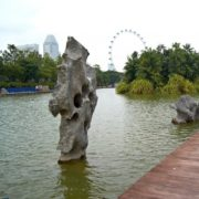 Unusual stone sculptures on the Dragonfly Lake