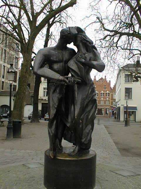 Bruges, Belgium. Monument to kissing lovers