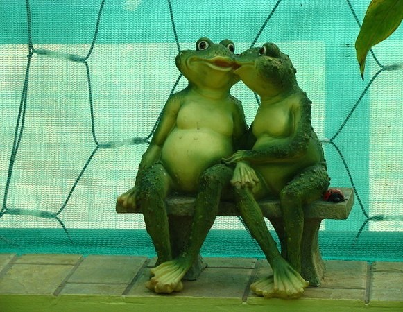 Chatting on a bench two frogs, sculptural composition
